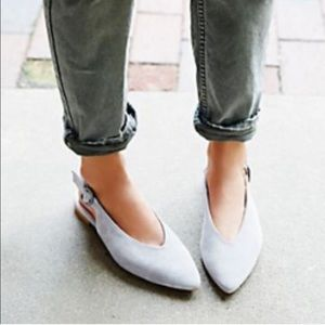 Free people Monte Rosa gray suede sling back flats